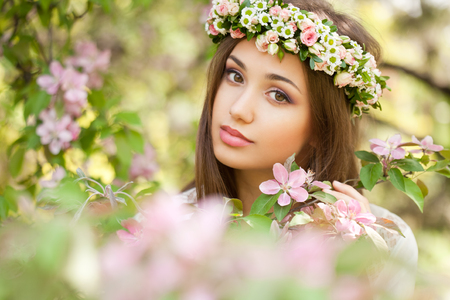 Outdoors portrait of an amazing natural spring beauty.