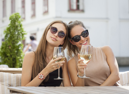 Portrait of two young brunettes having summer wine fun. Stock Photo