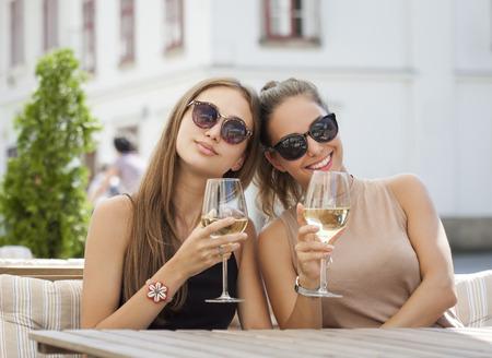 有夏天酒乐趣的两个年轻黑发乐趣画象。