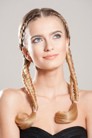 dutch girl: Portrait of blond beauty with amazing long healthy hair.