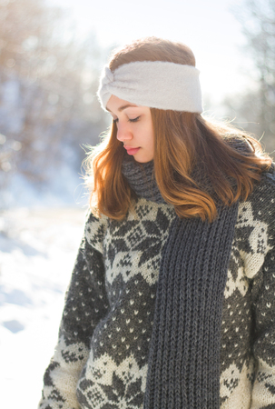 Outdoors portrait of s gorgeous brunette in winter fashion. Stok Fotoğraf