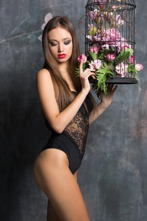 Portrait of a beautiful sensual lingerie brunette. Standard-Bild