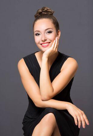 Portrait of a gorgeous brunette in elegant makeup.