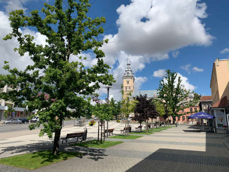 Joniskis Saint Mary church and town square at city centre. Joniskis / Lithuania.