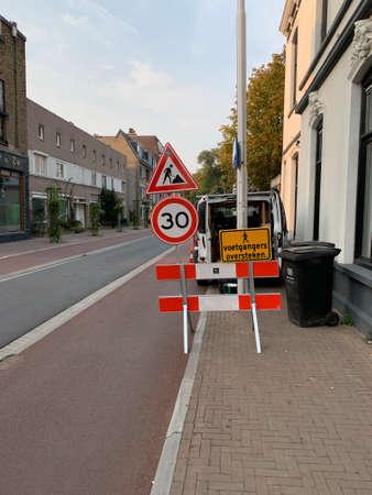 Road work signs at Gasthuisring street. Tilburg, the Netherlands.