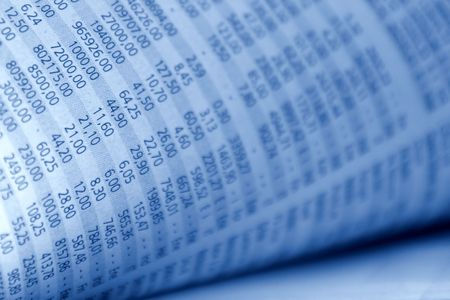 news values: Closeup from stock quotes in a newspaper, in blue