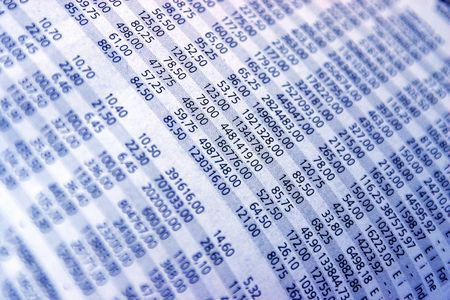pay wall: Closeup from stock quotes in a newspaper, in blue