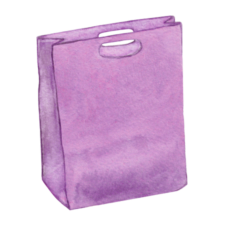 leather bag: Leather bag. Purple leather bag. Ladies leather bag isolated. Carrier bag, womans leather handbag. Leather female accessory. Shopping bag Watercolor fashion illustration.