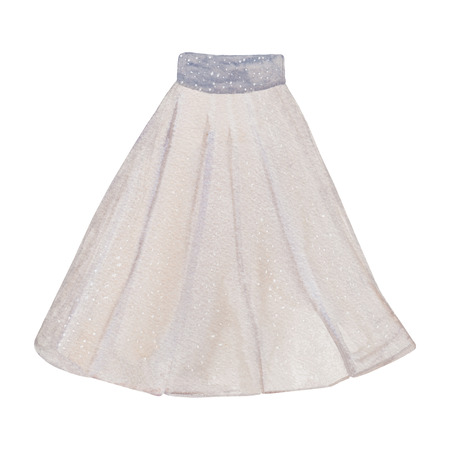 Pleated cotton beige skirt painted by hand. Watercolor fashion Illustration in pastel colors