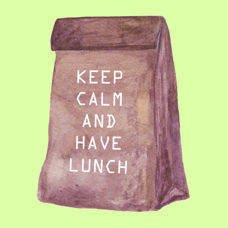 packaged: Lunch bag with a quote. Simple brown Craft Paper bag. Watercolor illustration. Stock Photo