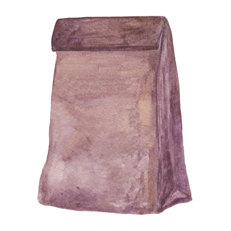 craft paper: Brown Lunch bag. Ecological package. Eco friendly simple brown blank craft paper food bag. Watercolor illustration for your design