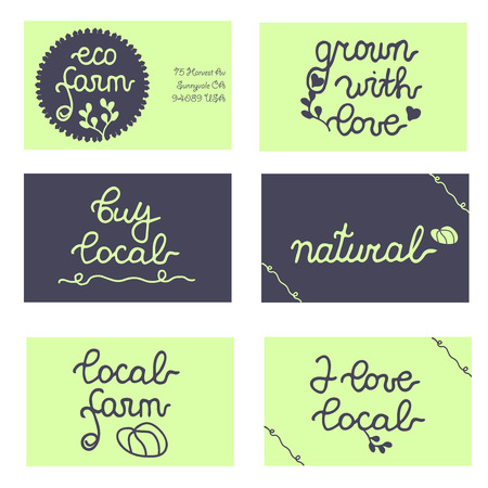 grown with love: Set of cards, badges for eco farm, local business, food store. Grown with love, natural, buy local. Vector set.