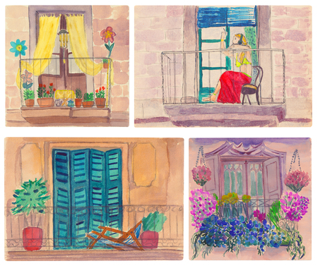 patio set: Various cute european balconies with shutters, curtains and flowers. Watercolor set. Stock Photo