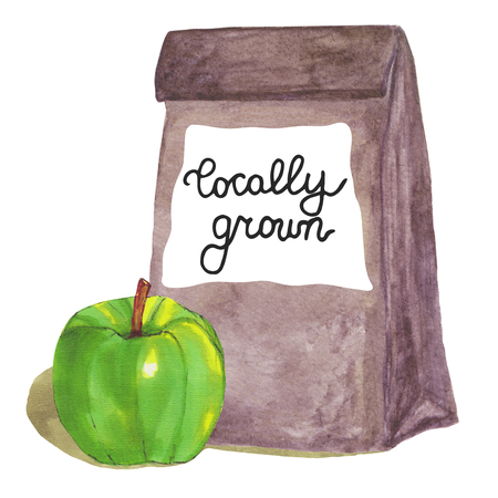 brown paper bag: Locally grown. Brown paper bag with apple and lettering. Hand drawn illustration for local produce, farmers market, harvest festival. Watercolor illustration. Stock Photo