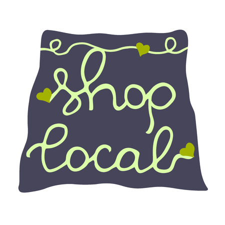 quality regional: Shop local. Label for local business. Green on Blue. Banner, logo, sticker, badge for ecological package, shopping bag design, concept, farmers market, food cosmetics store.
