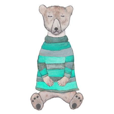 Sleeping hipster teddy-bear in a knitted striped sweater. Watercolor illustration for poster, postcard, products.