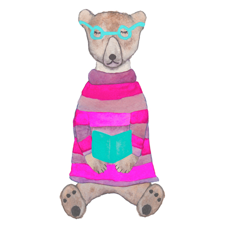 Hipster teddy-bear in a knitted sweater and glasses reading a book. Hand drawn watercolor warm winter character. Stock Photo