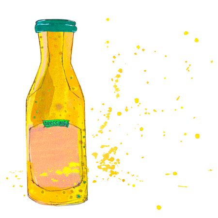 culinary arts: Mustard sauce bottle with splashes. Watercolor Illustration.