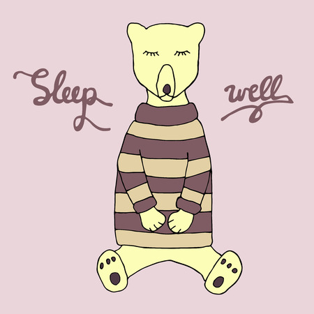 night dress: Sleep well illustration. Cute sleeping bear in a warm clothes and hand drawn inscription. Sketch. Vector