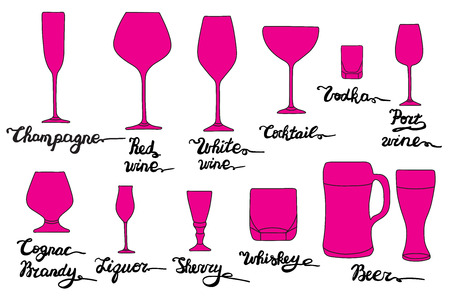 Set of various glasses.  Champagne, Red wine, White wine, Cocktail, Vodka, Port wine, Cognac, Brandy, Liquor, Sherry, Whiskey, Beer glasses. Vector bar collection