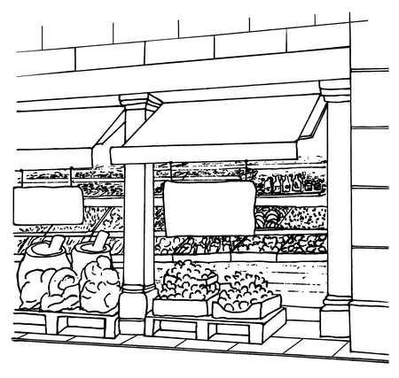 quality regional: Local Shop entrance with fresh fruits and vegetables in boxes. Supermarket aisle. Farmers market. Village market. Street market. Sketch. Vector