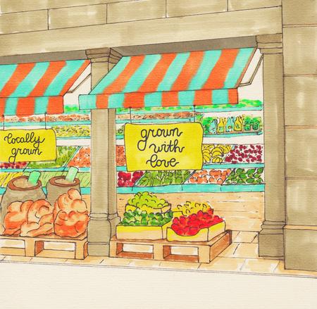 quality regional: Supermarket colorful hand drawn sketch. farmers market. Fresh organic food store. Local Produce.