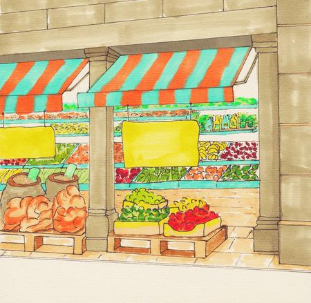 quality regional: Fruits and Vegetables Shop. Supermarket aisles. Farmers market. Village market. Local Produce. Fresh organic food store. Sketch.