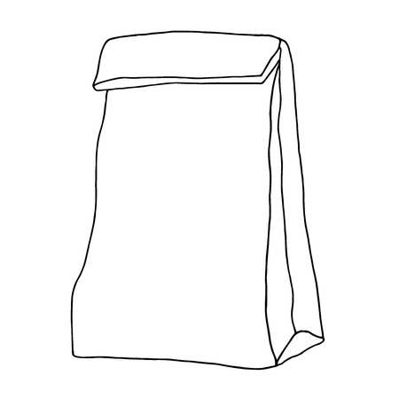 Lunch bag. Paper bag. Container. Hand drawn graphic illustration. Isolated on white. Stock Vector - 70792289