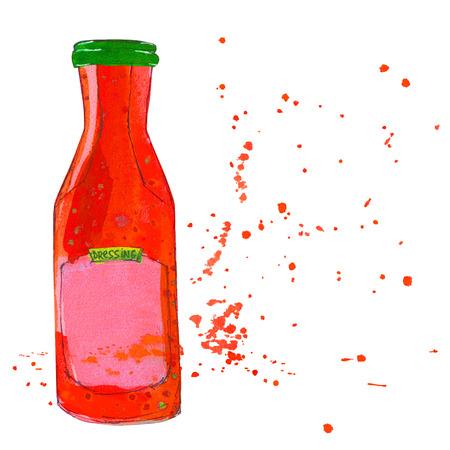 ketchup bottle: Red sauce bottle with splashes. Tomato ketchup bottle, Salsa bottle. Watercolor sketchy illustration.