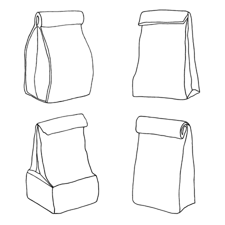 sketch out: Various lunch bags and lunch boxes. Sketch, hand drawn, vector. Illustration