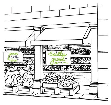 aisle: Local Shop with Locally grown inscription and fresh fruits and vegetables. Supermarket aisle. Farmers market. Village market. Ogranic food. Sketch. Vector