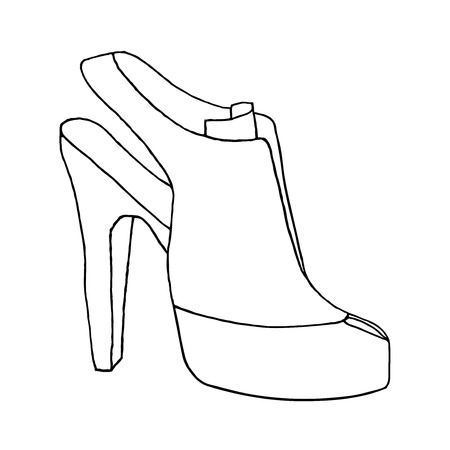 High heel woman shoe. Shoe with stiletto heel. Fashion illustration. Hand drawn vector sketch.