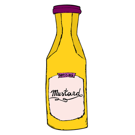 jung: Mustard sauce bottle. Hand drawn cartoon sketch illustration. Isolated on white.