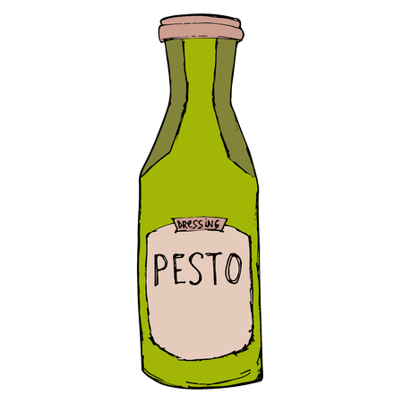 dressing: Pesto jar. Hand drawn sketch illustration. Pesto bottle Isolated on white. Illustration