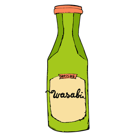 condiments: Wasabi bottle isolated on white background. Colorful hand drawn sketching illustration. Illustration