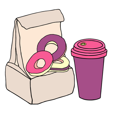 Lunch bag with sweet donuts and cup of coffee. Hand drawn sketch illustration. Illustration