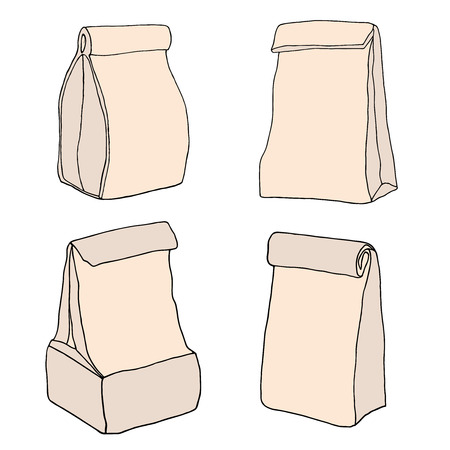 Brown paper lunch bags. Food bags collection. Food delivery packages. Hand drawn vector set.
