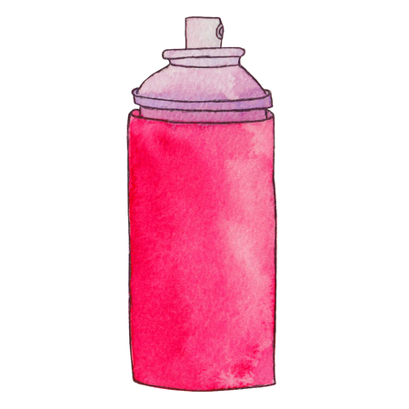 pulverizer: Aerosol can. Spray paint can or deodorant spray, hairspray. Graffiti paint bottle. Watercolor hand drawn illustration. Isolated on white background. Stock Photo