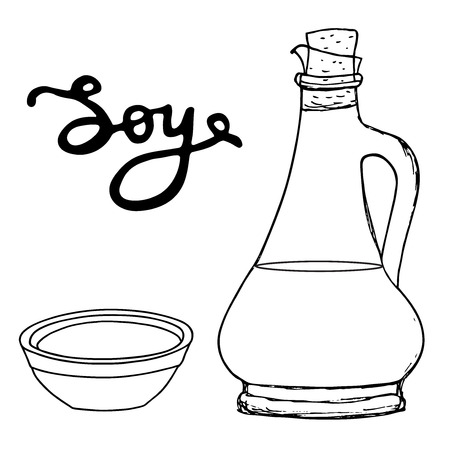 chinese food container: Soy bottle with bowl and hand drawn letters. Vector sketching object.