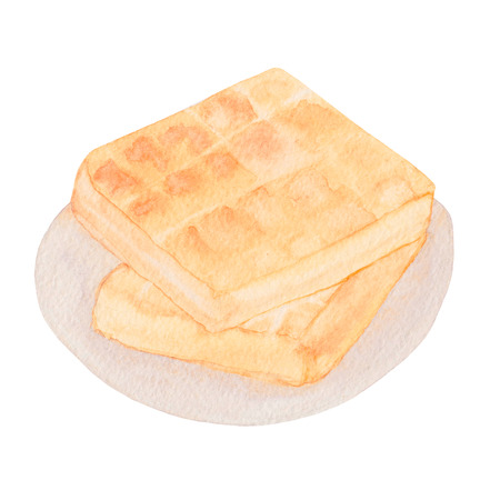 Belgian waffles on a plate. Two delicious fried waffles Watercolor hand drawn illustration