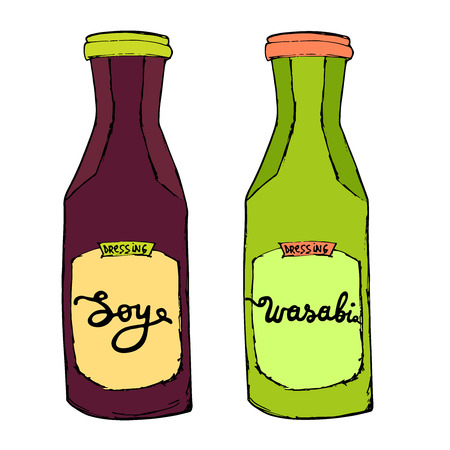 Soy and Wasabi bottles. Sauces set for sushi sea food. Hand drawn condiments. Artistic vector illustration. Illustration