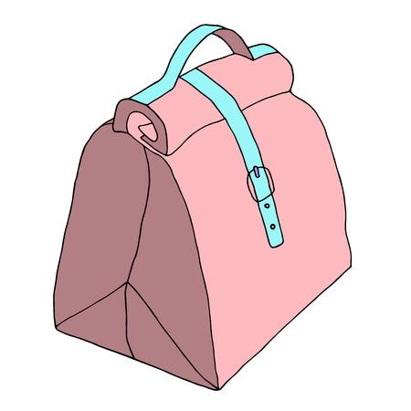 Handbag with lock and strap. Leather ladies bag. Hand drawn realistic fashion sketch. Vector illustration