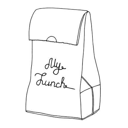 artisitc: My lunch. Food bag, Lunch bag, lunchbox. Hand drawn artisitc illusration.Vector line art object.