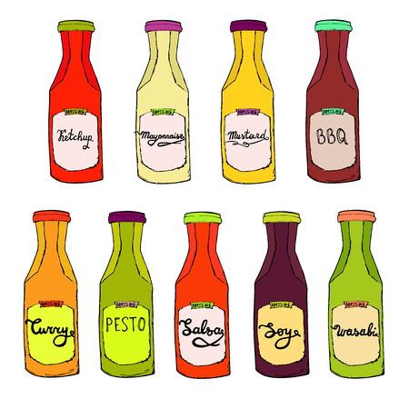 Condiments set. Ketchup bottle, Mayonnaise jar, BBQ, Curry, Salsa, Pesto, Soy, Wasabi dressings. Vector colorful cooking collection. Hand drawn artistic sketch Çizim
