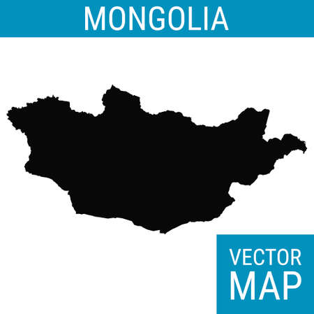 Mongolia vector map with country name, black on white background. 矢量图像
