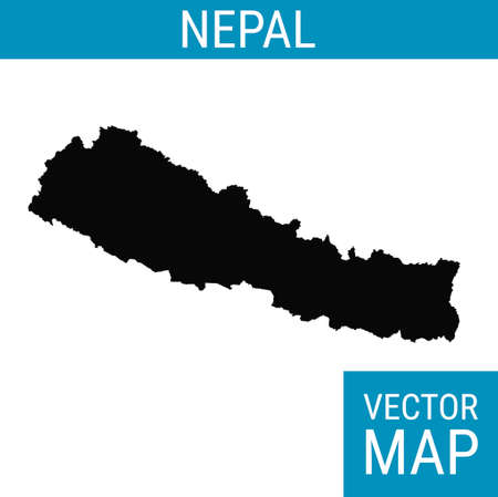 Nepal vector map with country name, black on white background.