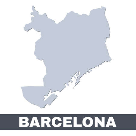 Barcelona outline map. Vector map of Barcelona city area within its borders. Grey with shadow on white background. Isolated illustration.