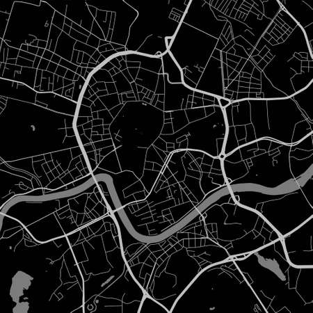 Urban city map of Krakow. Vector illustration, map art poster.