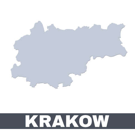 Krakow outline map. Vector map of Krakow city area within its borders. Grey with shadow on white background. Isolated illustration.