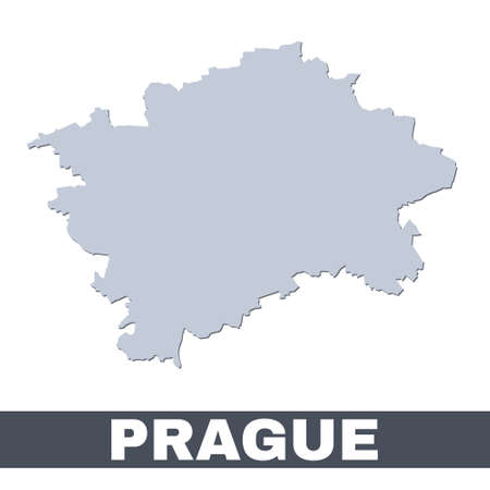 Prague outline map. Vector map of Prague city area within its borders. Grey with shadow on white background. Isolated illustration.